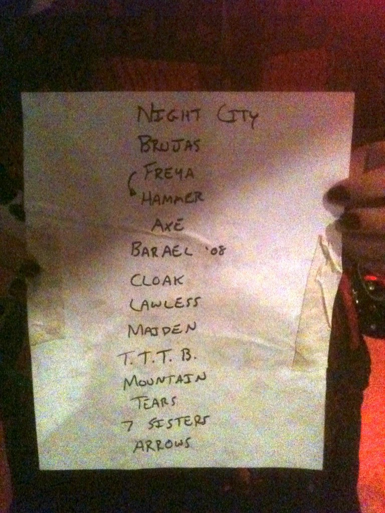 Sword Setlist, Emo's East,  4/21/12