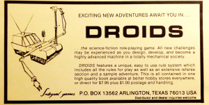 Ad for Droids from The Space Gamer #65