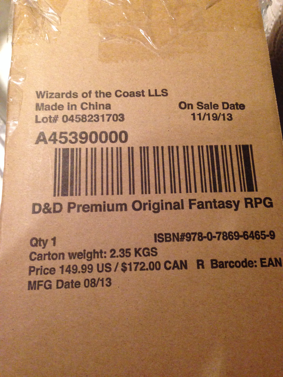 OD&D Premium Reprint Shipping Box